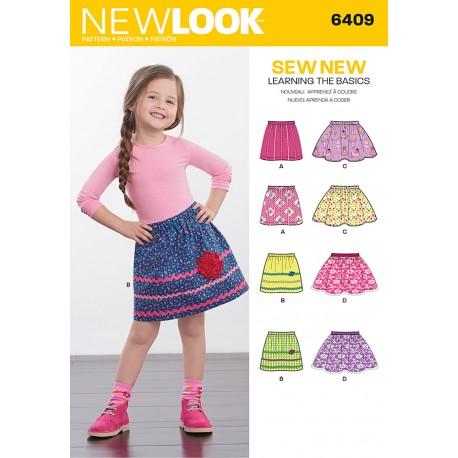 Pige nederdel 4 varianter snitmønster New look 6409