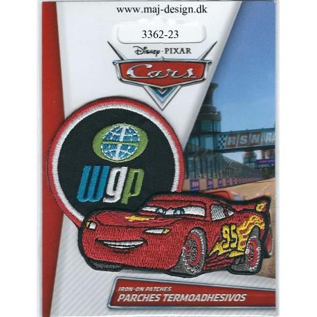 Cars McQueen WGP Broderet strygemærke 8x6 cm