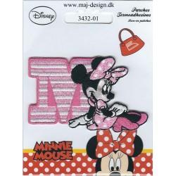 Minnie med M Broderet strygemærke 7,5x5 cm