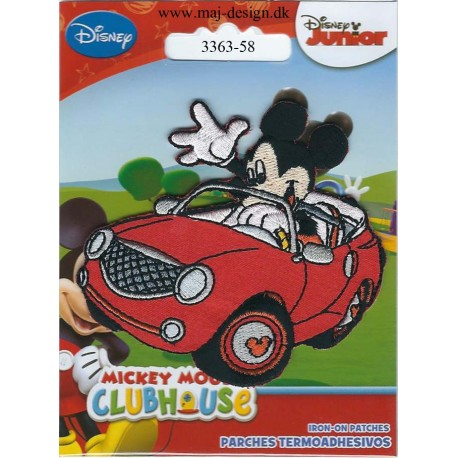 Mickey i sportsvogn ca.7x7 cm