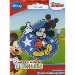 Mickey Mouse blå broderet strygemærke 6x6 cm