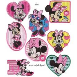 8 stk sæt med Minnie Mouse broderet Strygemærker
