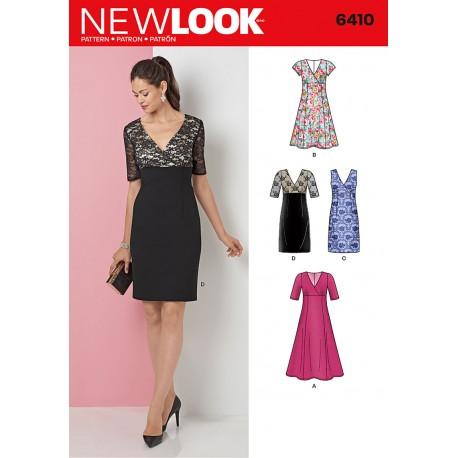 28a02f86 Snitmønster til Blonde kjole med V udskæring New Look 6410