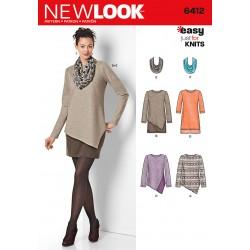 snitmønster til nederdel tørklæde tunika simplicity new look easy 6412