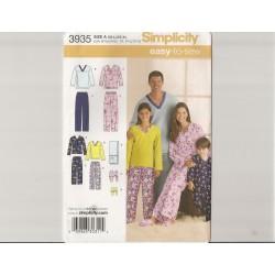 Pyjamas til hele familien snitmønster