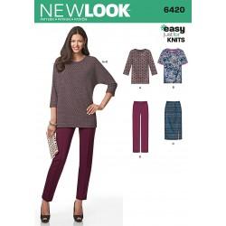 snitmønster til bukser nederdel tunika new look easy 6420