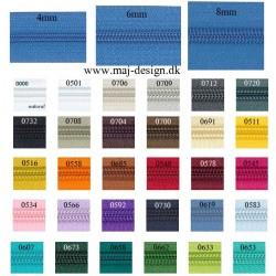Lynlås i metermål 4mm i 30 farver