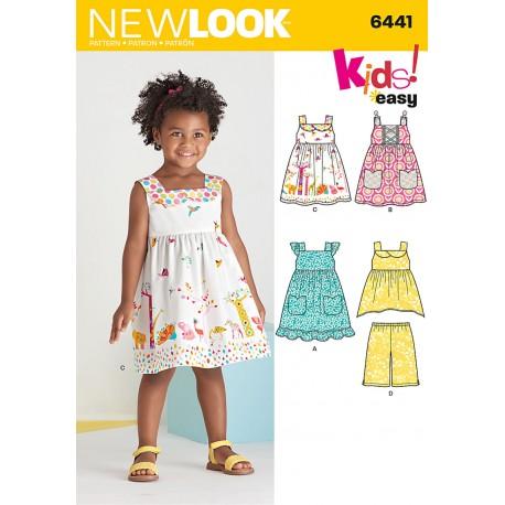 Pigetøj Kjole, bukser og tunika Snitmønster New Look easy 6441