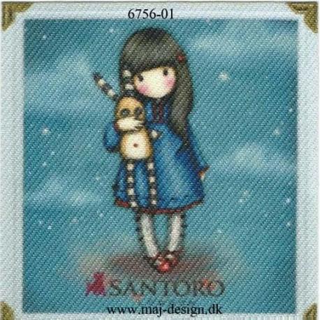 Santoro Gorjuss Blå Printet Strygelapper 6,5x6,5 cm