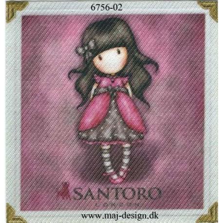 Santoro Gorjuss Pink Printet Strygelapper 6,5x6,5 cm