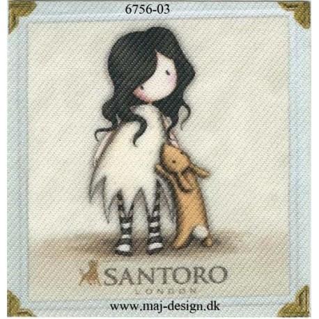 Santoro Gorjuss Hvid/creme Printet Strygelapper 6,5x6,5 cm