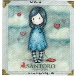 Santoro Gorjuss m/hjerte Printet Strygelapper 6,5x6,5 cm