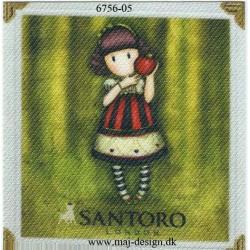 Santoro Gorjuss Grøn Printet Strygelapper 6,5x6,5 cm