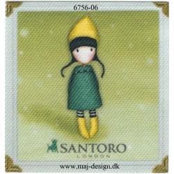 Santoro Gorjuss Grøn/gul Printet Strygelapper 6,5x6,5 cm
