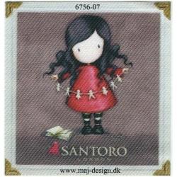 Santoro Gorjuss Rød Printet Strygelapper 6,5x6,5 cm