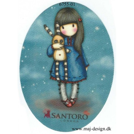 Santoro Gorjuss Blå Printet Strygelapper 11x8 cm