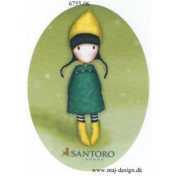 Santoro Gorjuss Grøn/gul Printet Strygelapper 11x8 cm