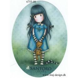Santoro Gorjuss Blå/grøn Printet Strygelapper 11x8 cm