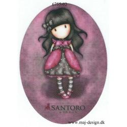 Santoro Gorjuss Pink Printet Strygelapper 11x8 cm