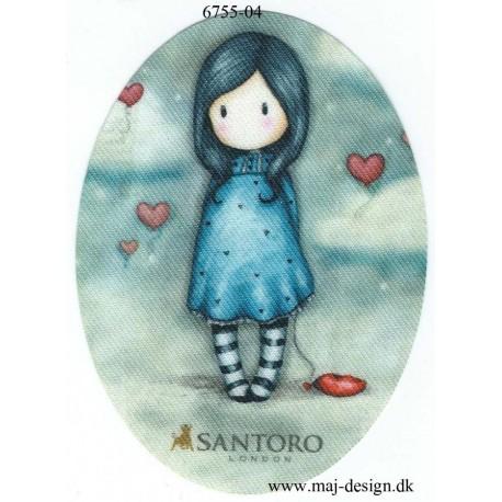 Santoro Gorjuss m/hjerte Blå Printet Strygelapper 11x8 cm