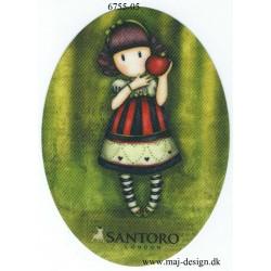 Santoro Gorjuss Grøn Printet Strygelapper 11x8 cm
