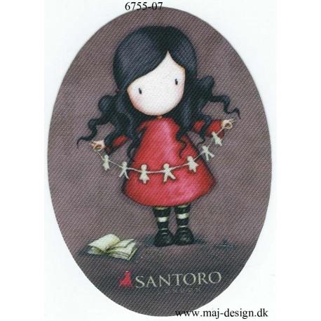 Santoro Gorjuss Rød Printet Strygelapper 11x8 cm