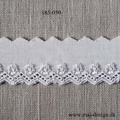 Hvid feston m/blank broderi 30 mm