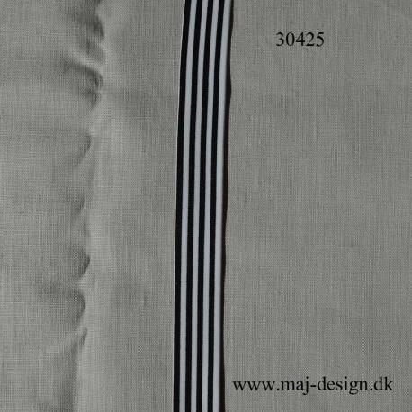 Elastik 30 mm bred Sort/hvid stribet