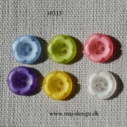 Knap 4-hul Blomst 13 mm 5 farver