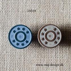 Patentknap m/stjerner 2 farver Grå og Jeans Blå 17mm