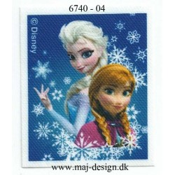 Anna & Elsa Printet strygemærke 7x5,5 cm