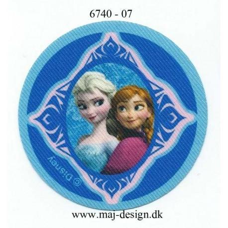 Anna & Elsa Printet strygemærke Ø 7 cm