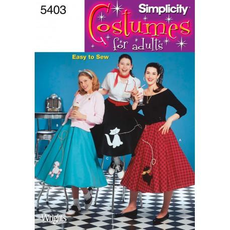 Nederdel retro Kostume Simplicity snitmønster 5403
