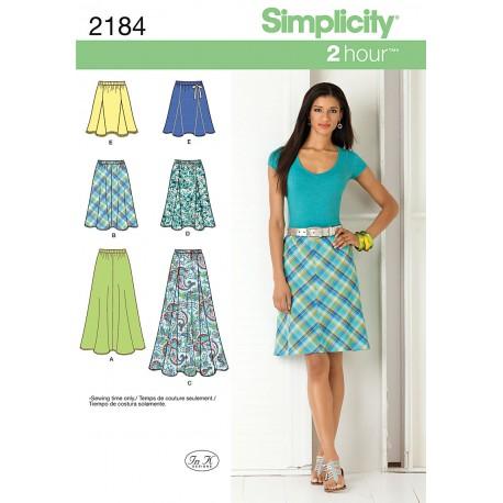 Nederdel 6 varianter snitmønster simplicity 2184