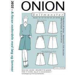A-facon nederdel m/læg og lommer Onion snitmønster