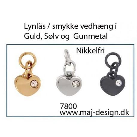 Lynlås eller smykkevedhæng i Guld Sølv eller Gunmetal farve nikkelfri