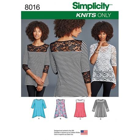 Bluse/tunika Simplicity snitmønster 8016 A