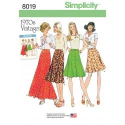 Vintage 1970èrne nederdel m/knapper snitmønster
