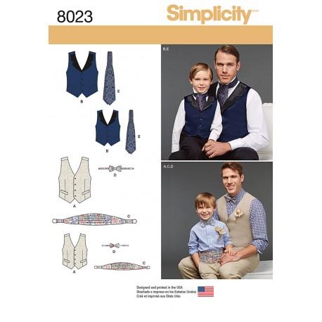 Vest, slips og skærf til far/søn Simplicity snitmønster 8023 A