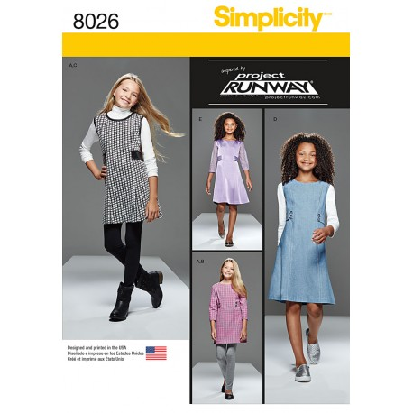Pige spencer og kjole også pige plus Simplicity snitmønster 8026