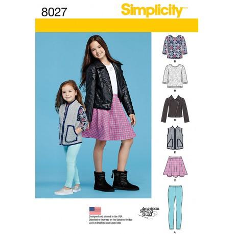 Pigetøj jakke, vest og leggings Simplicity snitmønster 8027