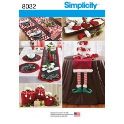 Bordløber, dækkeservietter og juleposer Simplicity snitmønster 8032 OS