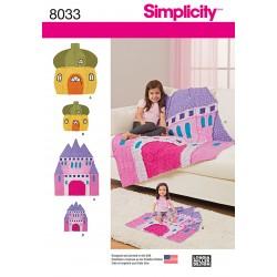 Børne tæppe Hus og slot Simplicity snitmønster 8033 OS