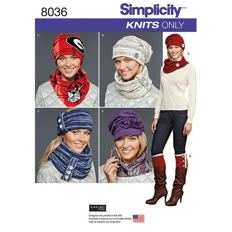 Huer og tørklæder Simplicity snitmønster 8036 A
