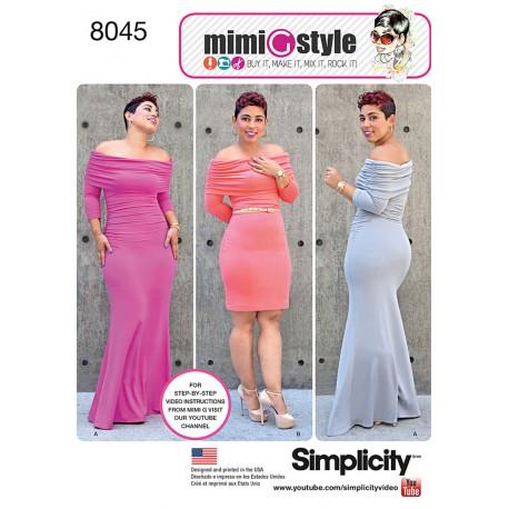 Kjole MimiGstyle også plusmode Simplicity snitmønster 8045