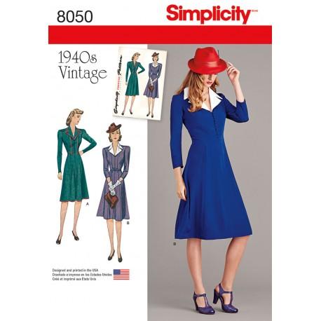 Vintage 1940èrne Kjole Simplicity snitmønster 8050