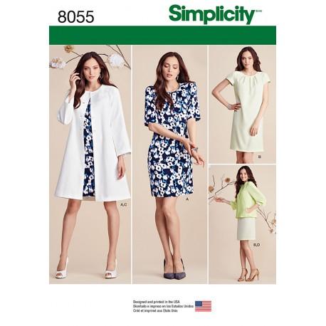 Jakke, Frakke og kjole også plusmode Simplicity snitmønster 8055