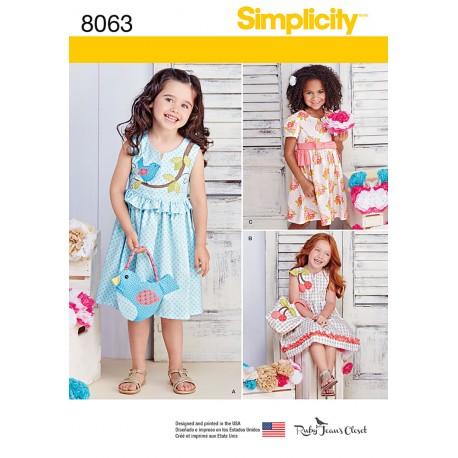 Pigekjole og taske Simplicity snitmønster 8063 A