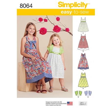 Pigekjole og kort jakke Simplicity snitmønster 8064