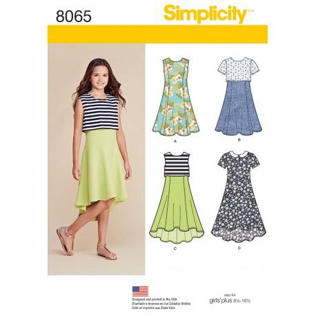Pigekjole også pigeplus Simplicity snitmønster 8065